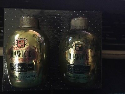VINTAGE Hawick MEN'S TALC BOTTLE & AfterShave w/ Crown Stoppers House Of Hawick