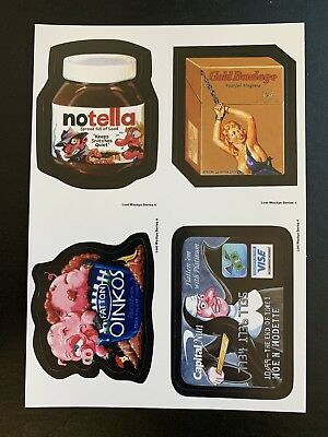 Very Rare LOST WACKY PACKAGES Series 4 QUAD BLOCK of 4 Titles White Back