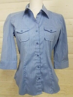 DCC Missy Womens Blue, White and Silver Pinned Striped Stretch Blouse