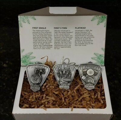 Harley Davidson Wrap Up The Rumble 3 Engine Christmas Ornaments New In Box