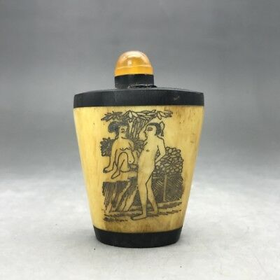 Collect painting  man&woman China antique snuff bottle. b1011