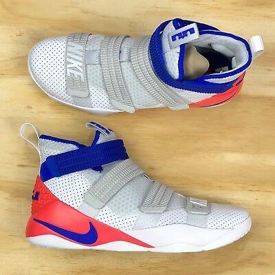 timeless design 0c174 57e23 Nike Lebron Soldier XI SFG White Blue Infrared Basketball Shoes 897646-101  Size