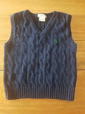 Ralph Lauren Boy Cable Knit Vest, Blue Size 2 / 24m