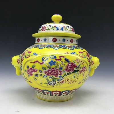 Chinese porcelain vase hand-painted with colorful floral patterns.  x31