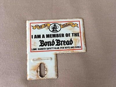 Vintage Bond Bread Lone Ranger Safety Club Bicycle Rack Tag Advertising Topper