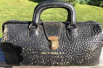 VINTAGE LILLY GENUINE BLACK LEATHER Swiss Made DOCTORS BAG W DR. NAME