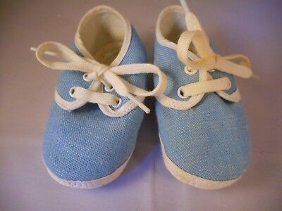 Vintage 1960s Baby Doll Infant Booties Shoes Blue Denim