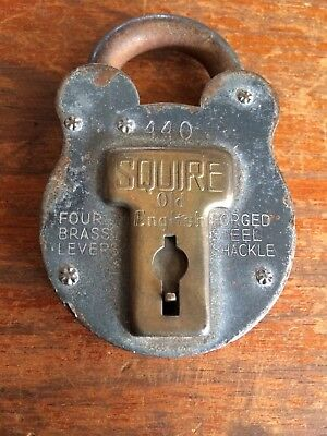 Vintage Squire 440 Old English Padlock. Four Brass Levers. Estate Item. No Key