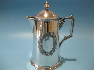 Very Beautiful Elegant Antique Ornate Engraved Silver Plated Tapered Coffee Pot