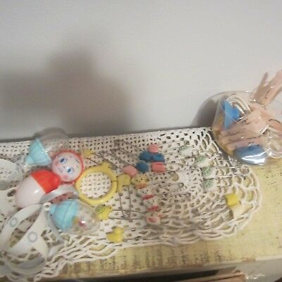 Vintage Baby Lot, 20 Diaper Pins, 3 Rattles And Tiny Clothes Pins w/ Line