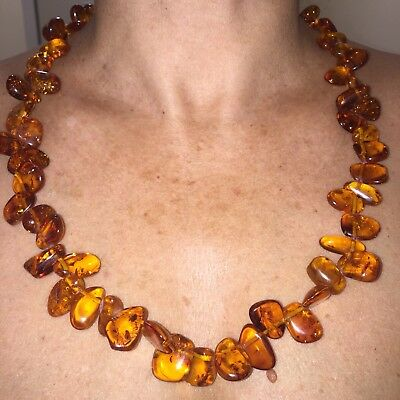 Genuine Natural OLD BALTIC AMBER BUTTERSCOTCH EGG YOLK leaf necklace 53 g.!!!