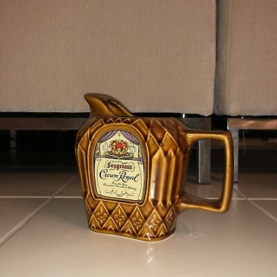 Vintage Seagram's Crown Royal Whisky Ceramic Bar Pitcher Man Cave Pub Party