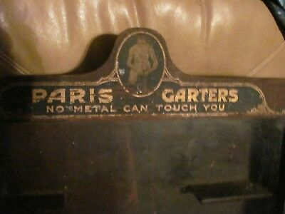 Antique Mens Store Display French Garters Wood Case