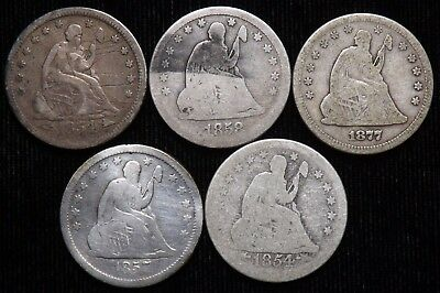 Lot of 5  Low Grade  Seated Liberty Quarters   1854 - 1877