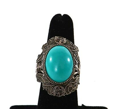 Old Chinese Turquoise Carved Carving Cabochon Bead Sterling Silver Ring Adjust
