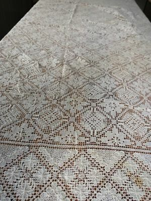 Vintage 1940's ITALIAN Linen Hand Knotted Filet Net LACE TABLECLOTH 66x86 floral