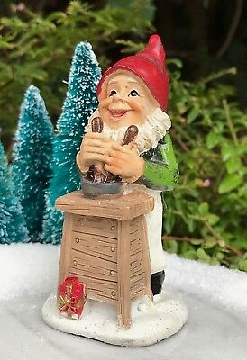 Miniature Dollhouse FAIRY GARDEN Figurine ~ Mini CHRISTMAS Gnome Elf w Workbench
