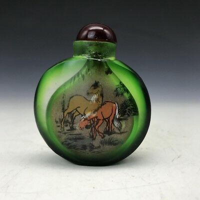 exquisite China manual painting horse glass Snuff bottle.  q79