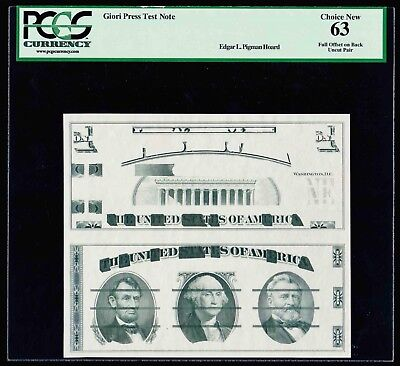 Giori Uncut Pair Press Test Note Pcgs Choice New 63 Full Offset On Back (Rare)