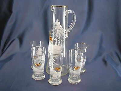 Antique Mary Gregory Pitcher 5 Tumblers Set Hand Painted Glass Deer Snow Trees