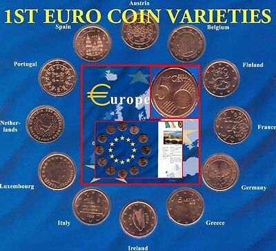 European Union Mint 1st EURO Coins Folder Set 1999 -2002 National Variety Issues