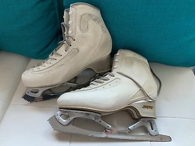 Edea Ice Fly White 255b Figure Skate Boots with John Wilson GOLD seal Blades
