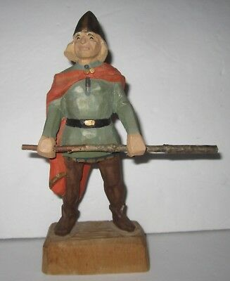 Vtg HENNING Hand Carved Wood Norwegian Carved Wooden Viking Norway 7.75""