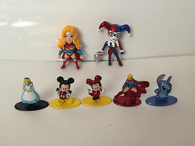 """NEW OTHER 7 x Disney Mickey MINNIE MOUSE Figure 1.5"""" tall Collectible all metal"""
