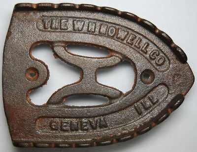 "Antique Scalloped ""H"" Design Cast Iron Sad Iron Trivet W H Howell Co Geneva Ill."