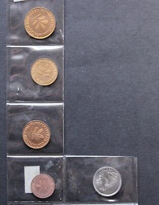 Germany coin collection 1 2 5 10 & 50 Pfening from 1950s & 1960 take a look