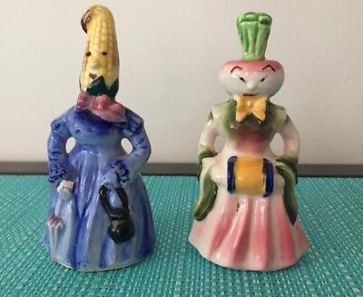 Anthropomorphic Corn And Turnip Ladies Salt And Pepper Shakers!