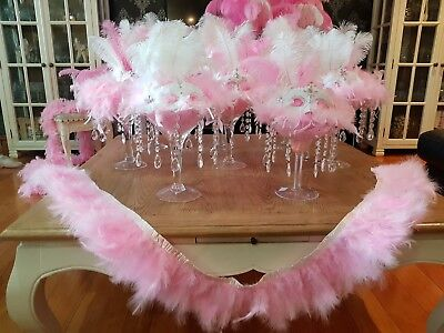 Pink White Masquerade Accessories Light Up Decorations Feathers Diamonds