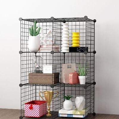 Black Organizing Bookrack Simply Constructed Steel Wire Mesh Store Cube I2W5