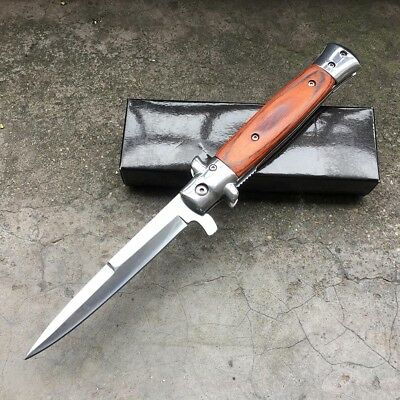 """Brown 9"""" Stiletto Tac Force Milano Tactical Wood Spring Assisted Folding Knife"""