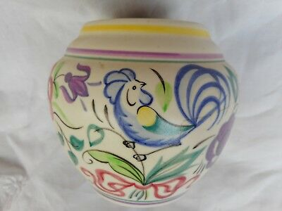 Poole Pottery bowl or jardiniere Blue Cockerel and flowers pattern vintage # 877