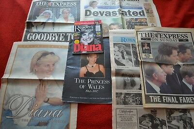 Bulk lot of Princess Diana Newspapers 1997 Diana Readers Digest 2007