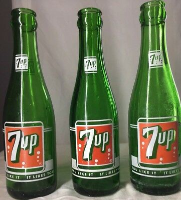 """VIntage 7 ounce 7 up Bottles """"you like it, it likes you"""""""