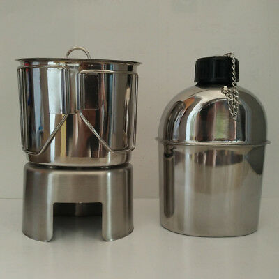 Stainless Steel Us Military Canteen With Cup And Cover Stove Set 4 Piece/set