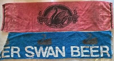 Two Swan Bar Runners from the 80's &20 SwanCoasters to go with the Beer Towels