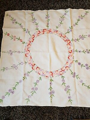 Vintage Pretty Hand Embroidered Linen Table Cloth Climbing Flowers