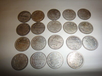 Russia 10 Kopeks 1916 Coin Collection 19 Coins