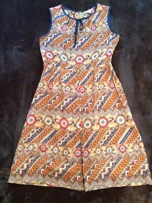 Vintage Womens Mustard and navy Dress Size 8