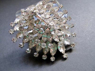 Vintage HUGE Statement WEISS Clear Bright Rhinestone Shield Shape Brooch 2-3/4""