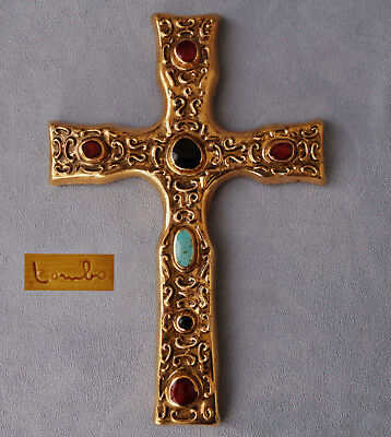 François LEMBO Vallauris - Crucifix Faïence Emaillée Or Emaux ca 1960  Signé