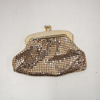 Vintage Glomesh Gold Clasp Coin Purse Formal Occasion Party #417