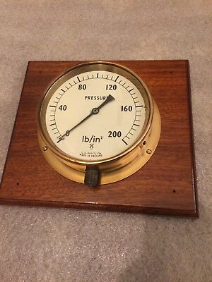 "vintage brass 6"" pressure gauge on mounted plaque."