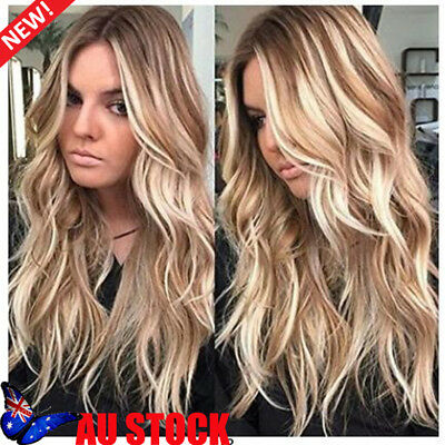 Women 27'' Long Wavy Brown Gold Blonde Ombre Synthetic Wig Cosplay Party Wigs AU