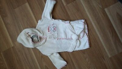 Baby Boys or Girls White Towelling Dressing Gown 3-6 Months New