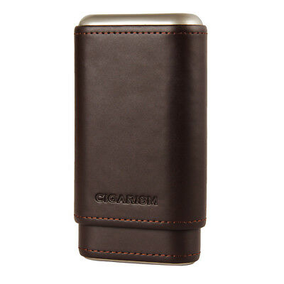 CIGARISM Coffee Leather Spanish Cedar Lined Cigar Travel Holder Case 3 Count