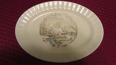 "EDWIN KNOWLES ""Farm in Winter"" SEMI VITREOUS Fluted China Platter 4810"